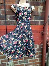 Lace floral skater tea dress size 16 pink blue rockabilly emo kitsch pin up 50s