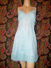 Vintage Nan Flower Blue Silky Nylon Empire Slip Nighty Lingerie 34