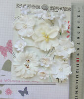 WHITE Rose, Blossom, Petals & Gerberra - 13 Flowers - PAPER & SILK 20-55mm VC5