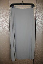 Eileen Fisher Petite NWT Gray STONE Silk Georgette Faux Wrap Skirt PM Medium M