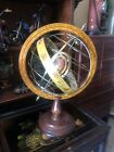 """VINTAGE WOOD/METAL ZODIAC ARMILLARY ASTROLOGY OLD WORLD GLOBE MADE IN ITALY 14"""""""