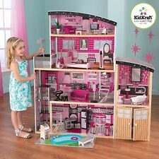 Doll House Furniture KidKraft Play Set Barbie Size Dollhouse Sparkle Mansion