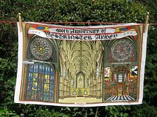 Vintage Irish Linen Tea Towel 900th Anniversary of Westminster Abbey 1965 Retro