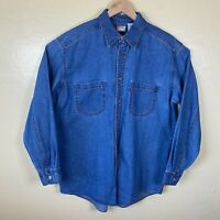 Levis Red Tab Denim Button Up Shirt Mens Medium Light Blue Wash Long Sleeve