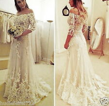 2017 Lace Sheer Neck Wedding Dresses 3/4 Long Sleeves Tulle Beaded Wedding Gowns