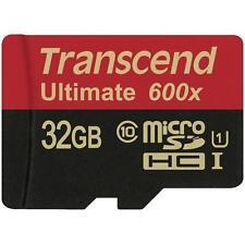NEW *Transcend 32GB microSDHC 600x UHS-I U1 Class 10 W/Adapter 4K FULL HD RECORD