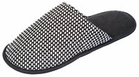 Coolers Mens Houndstooth Design Textile Lined Mule Slippers - Grey - 9-10 UK