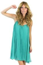 Halston Heritage Spaghetti Strap Pleated Short Dress CACTUS green chiffon Teal
