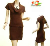 Women Brown Sexy Cowl Neck Rib Hem Stretchy Knit  Fitted Top Tunic Sweater Dress