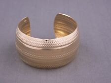 """shiny Gold tone metal bangle cuff 1 3/8"""" wide bracelet textured stamped pattern"""