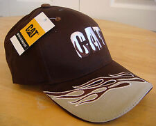 """Caterpillar Brown """"Flame"""" Cat Hat / Cap w/ Brown and White Flames and Flame Logo"""