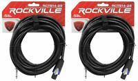 "2 Rockville RCTS1425 25' 14 AWG 1/4"" TS to Speakon Pro Speaker Cable 100% Copper"