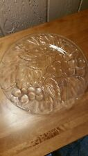 "Vintage INDONESIA Clear Glass 10.5"" Serving Platter/Plate w/Grape & Leaf Pattern"
