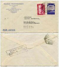 Censor militar Tánger + España a Ginebra 1943 Wertheimer Distribuidor de sello de correo aéreo