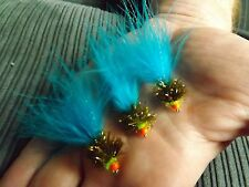 3X BLUE T15 JELLY DAMSELS, FLY FISHING TROUT FLIES PULLING LURES SIZE 8 FREE p&p