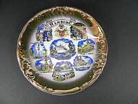 Wandteller Hamburg,Michaeliskirche Rathaus Hafen,19 cm Porzellan mit Goldrand