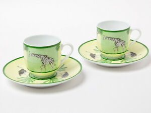 Hermes Africa Espresso Coffee Cup Saucer Tableware Green 2 set Porcelain New