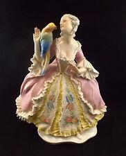 Regalo ideale Antico splendida figura di porcellana ragazza Parrot da Erphila