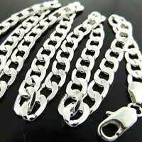 Necklace Pendant Chain Genuine Real 925 Sterling Silver S/F Solid Curb Design