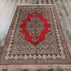 YILONG 5'x8' Handknotted Silk Carpet Living Room Red Oriental Luxury Rug 058M