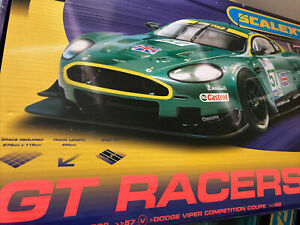 Scalextric GT Racers Box set featuring Flyover And Hairpin Bend Aston DRB9 Viper