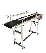 INTBUYING Belt Conveyor with Double Guardrails Adjustable Speed PVC Belt New