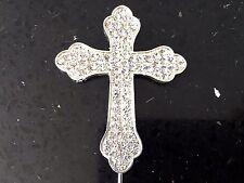 Cross Cake topper Bling Diamante Crystal Religious Christening Baptism Silver*