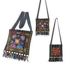 Hippie Festival Cotton Embroidered Sling Shoulder Bag Stripe Pattern