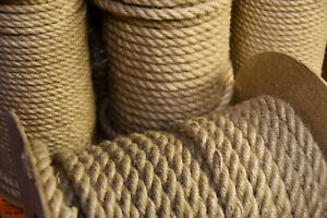 100%Natural Jute Hessian Rope Cord Braided Twisted Boating Sash Decking Garden