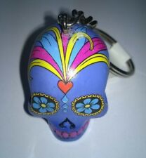 Skull Head Keyring Keychain  3D Candy Skull Day Of The Dead Purple New