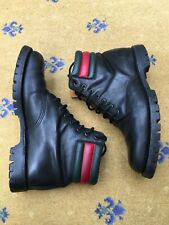 Gucci Mens Shoes Black Leather Military Combat Boot UK 10 US 11 44 Red Green Web