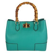 Borsa da Donna bamboo handle Vera Pelle Real Leather Made in Italy FG Tiffany