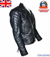 Men's Brando Vintage Motorcycle Classic Real Leather Biker Jacket Black UK Stock
