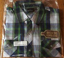Brew Dr Kombucha XL Men's Burnside Plaid Short Sleeve Shirt Navy Green Townshend