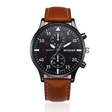 Luxury Boy Mens Watch Date Stainless Steel Leather Military Army Wrist Watches
