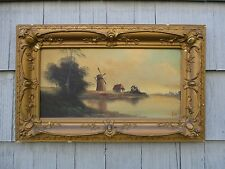 Antique Framed Dutch Oil on Board Painting of Windmill in Gesso Frame