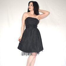 Magique Robe de Bal Satin Noir * S 36 Cocktail * sans Bretelles Fête