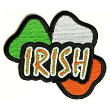 Embroidered Irish Shamrock Iron on Sew on Biker Patch Badge
