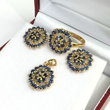 14k Solid Yellow Gold Cluster Pendant Earrings Ring Set, Natural Sapphire 8.14Gr