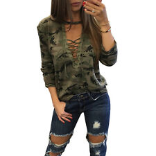 Sexy Womens Camouflage V-Neckline Long Sleeves T-Shirt Tops Blouse Ladies Top US