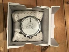 A Genuine Men's DIESEL DZ-4240 White Leather Large Chronograph Dial Wristwatch