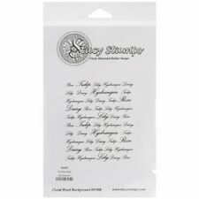 Stacy Stamps - Floral Word Background - Red Rubber Cling Stamp - 892BB Gardening