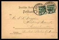 GERMANY BADEN BADEN AUGUST 13 1892 PAIR POSTCARD TO FREETOWN MA USA
