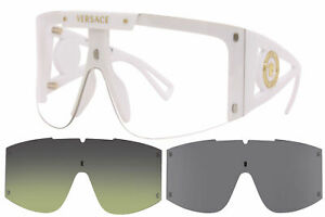 Versace 4393 401/1W Sunglasses White/Clear w/Extra 2pc Interchangeable Lenses