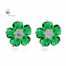 18k white gold GF made with swarovski crystal stud earrings flower green