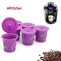 For Keurig K-Cups Keurig 2.0 & 1.0 Refillable Reusable K-cup Coffee Filter 6pcs