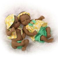 "11"" Realistic Handmade Girl Boy Baby Twins Silicone Reborn Black Dolls Xmas Gift"