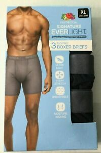Fruit of the Loom Everlight 3 Pair Tag Free Boxer Briefs Black Size XL 40-42 NEW
