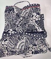 Tommy Bahama 2pc M Paisley Paradise Bandini Top & Hipster Skirt Bottom Swimsuit