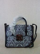 NWT FURLA Black/Light Gray Printed Leather Metropolis Satchel Bag $578